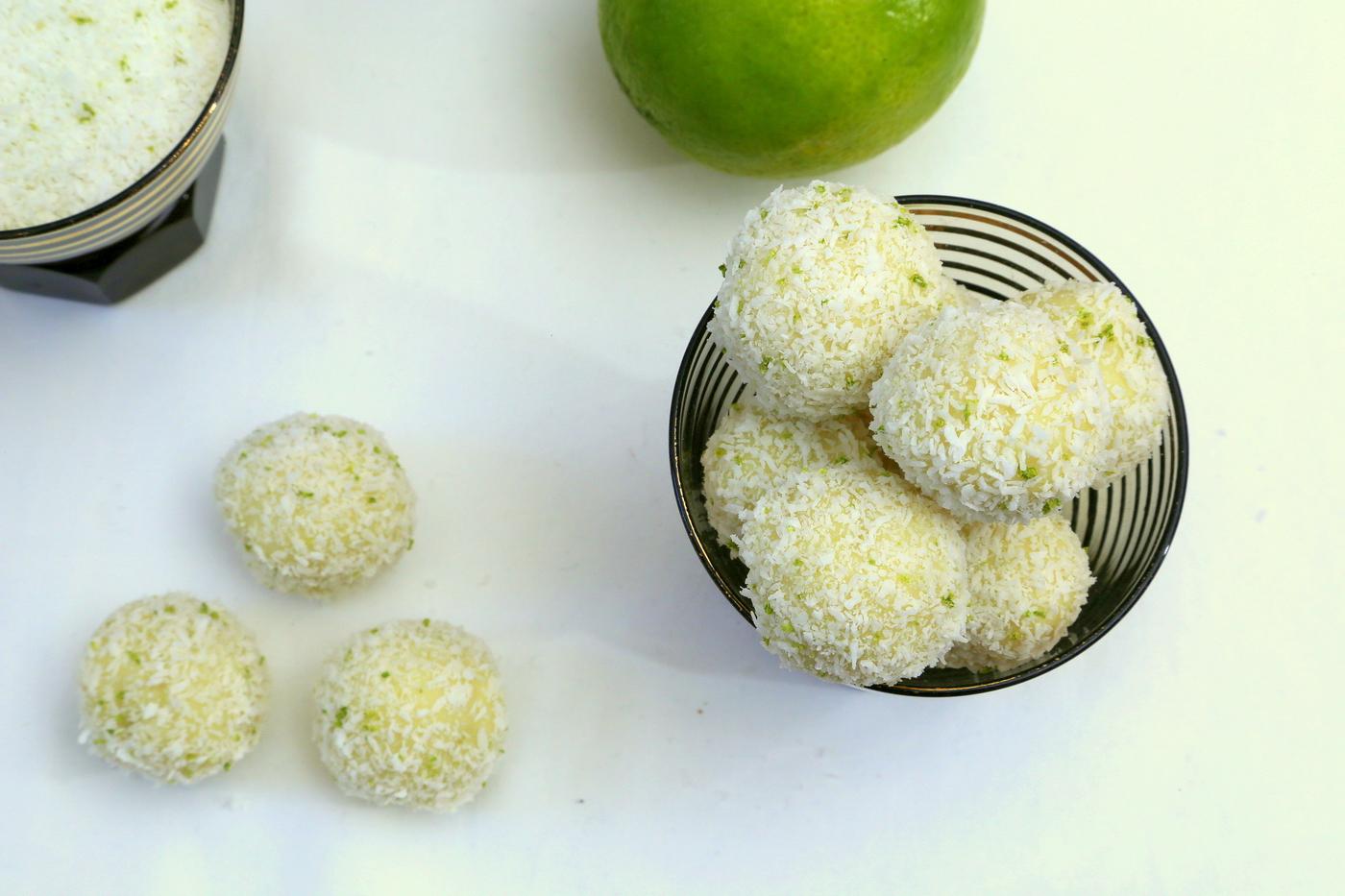 Truffes blanches, coco et citron vert