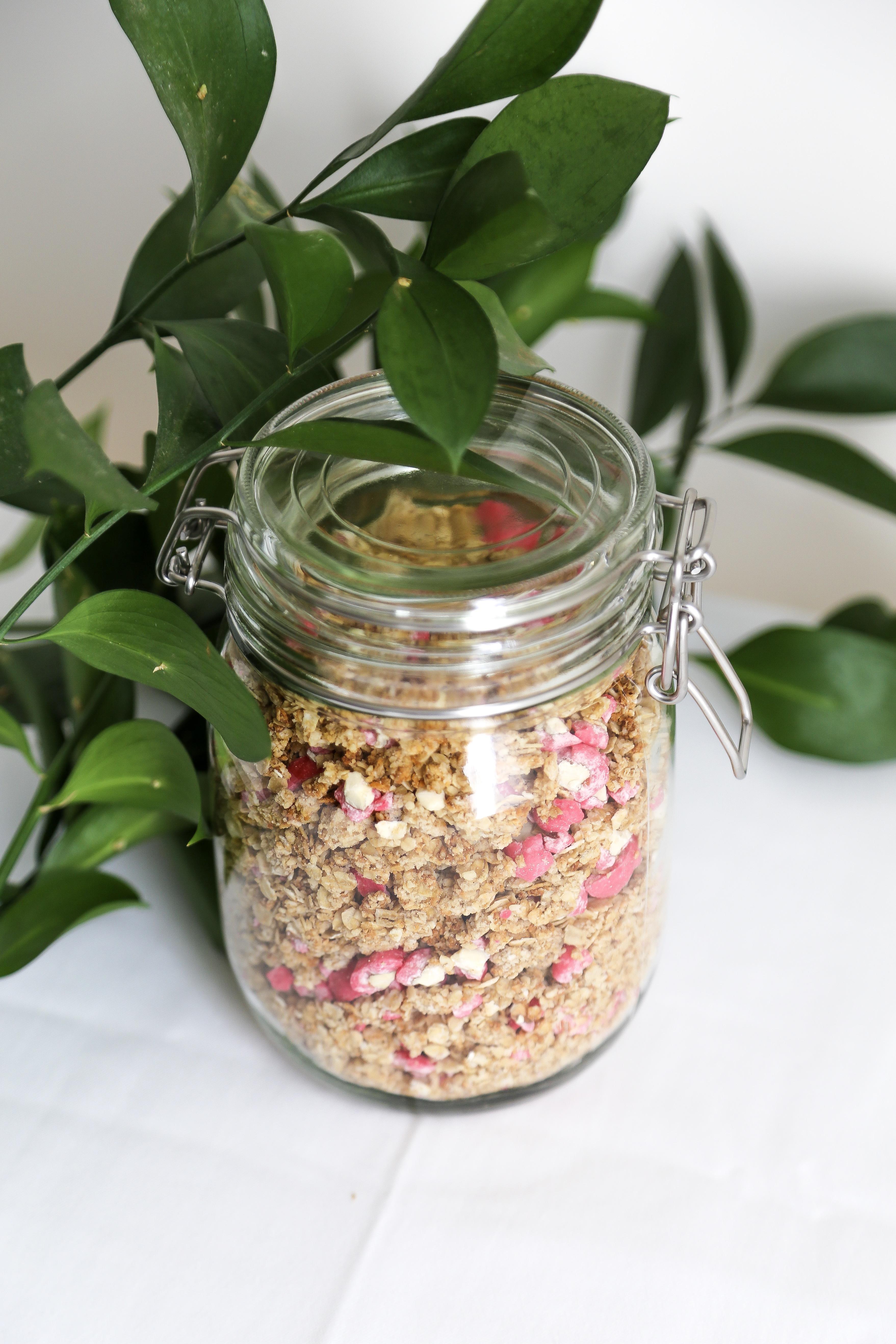 Granola aux pralines roses